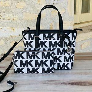 Michael Kors Jet Graphic MK XS small tote&wallet white black